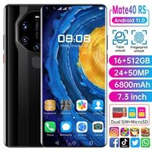 2021 yeni küresel sürüm 7.3 inç Mate40 RS 16GB + 512GB Smartphone cep telefonu 24 + 50MP 4G 5G ağ 6800mAh GPS WiFi cep telefonu