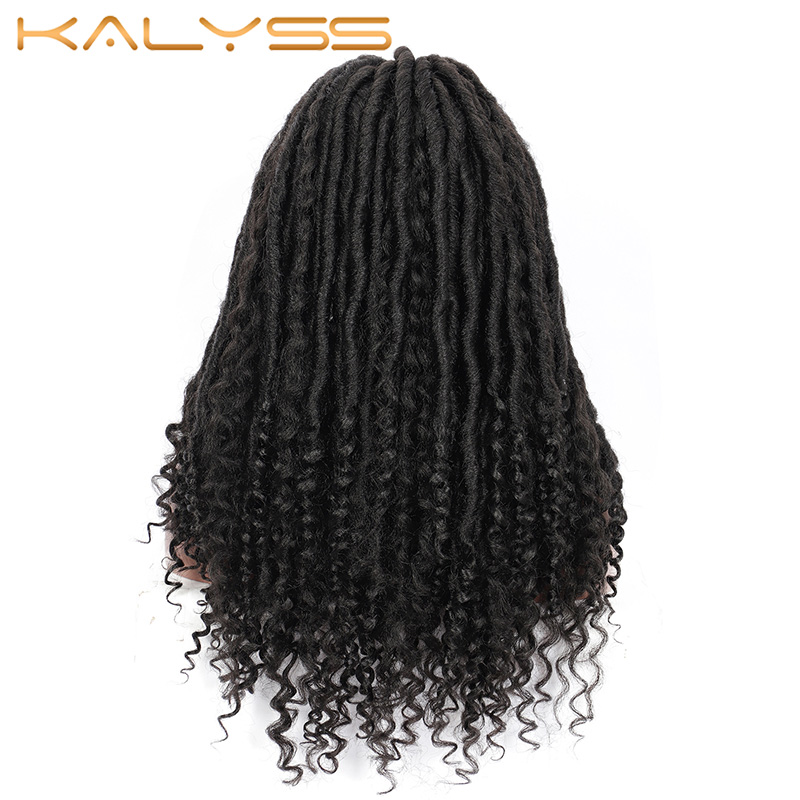 Kalyss 18inches Goddess Locs Braided Lace Front Wigs for Black Women Synthetic Wig with Curly Ends Knotless Braids