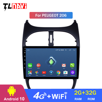 4G LTE 2G RAM GPS Autoradio HD Touchscreen Car Radio Audio 9 inch Android 10 for Peugeot 206 2000-2016 image