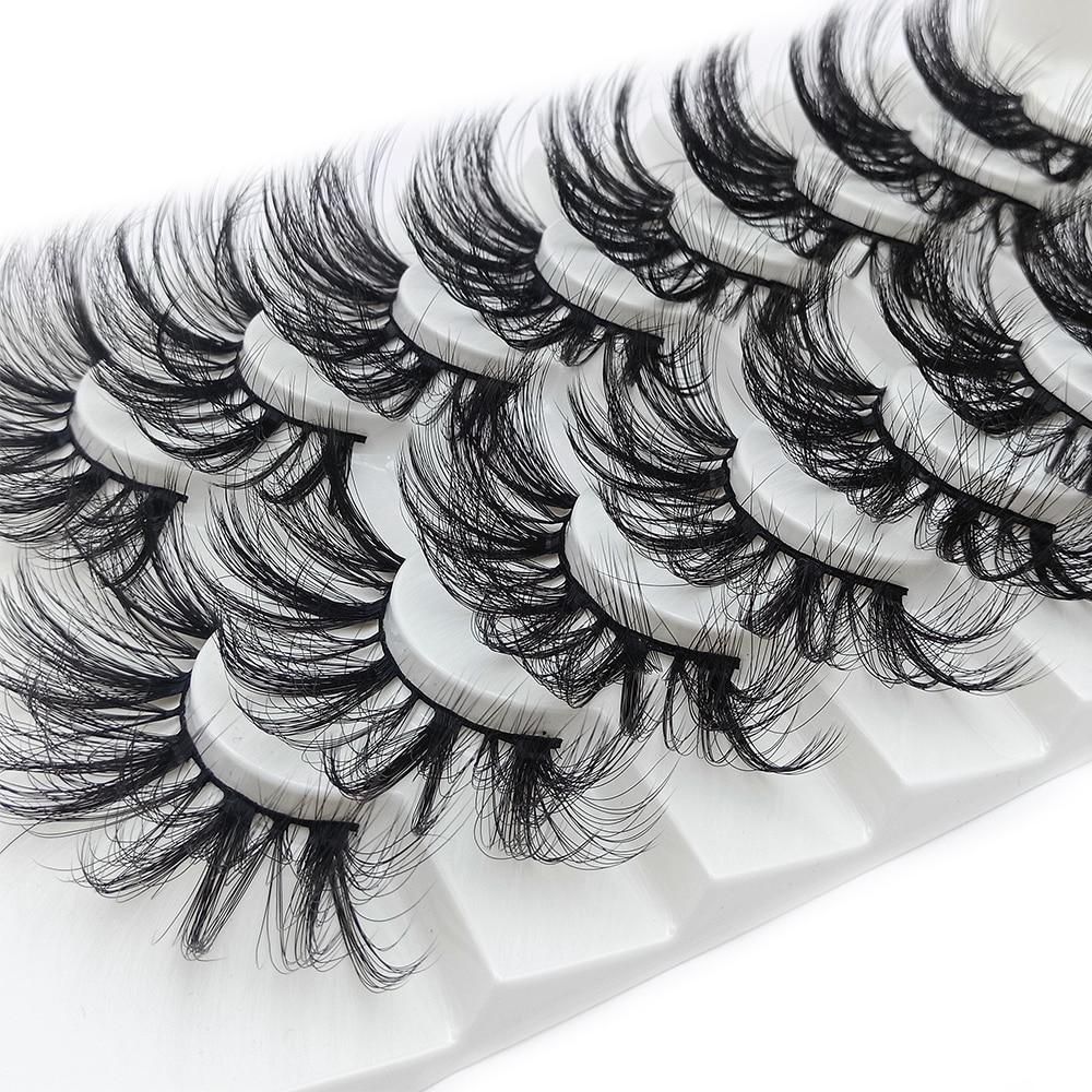 8 пар 15-25 мм 4D норковые Накладные ресницы ручной работы толстые пушистые наращивание ресниц макияж полный объем натуральные норковые ресниц...