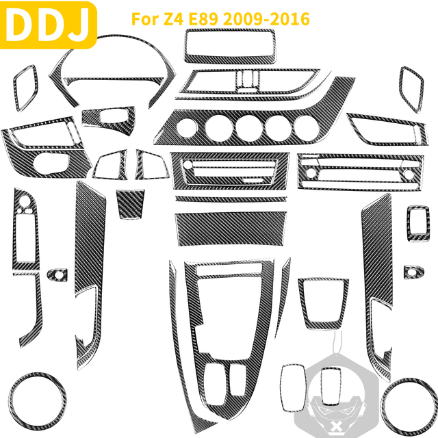Auto Carbon Faser Zubehör Innen Trim Aufkleber Abdeckung Für BMW Z4 E89 2009 2016 Roadster Dashboard Lenkgetriebe Shift konsole