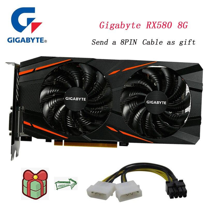 Carte graphique Gigabyte Radeon RX580 8G rx 580 alimentée 256 bits 8 go carte graphique PC AMD par Radeon moteur graphique AORUS intuitif