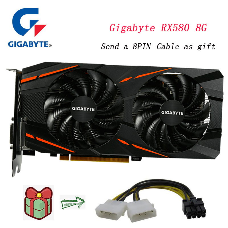 Gigabyte graphics card Radeon RX580 8G <font><b>rx</b></font> <font><b>580</b></font> Powered 256 Bit 8GB AMD PC Graphic card by Radeon Intuitive AORUS Graphics Engine image