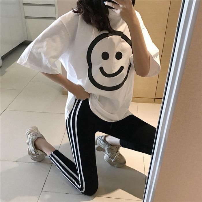 Fashion WOMEN'S Suit 2019 Ozhouzhan WOMEN'S Dress Loose-Fit Large Smiley Short Sleeve T-shirt + Outer Wear Skinny Leggings Fashi