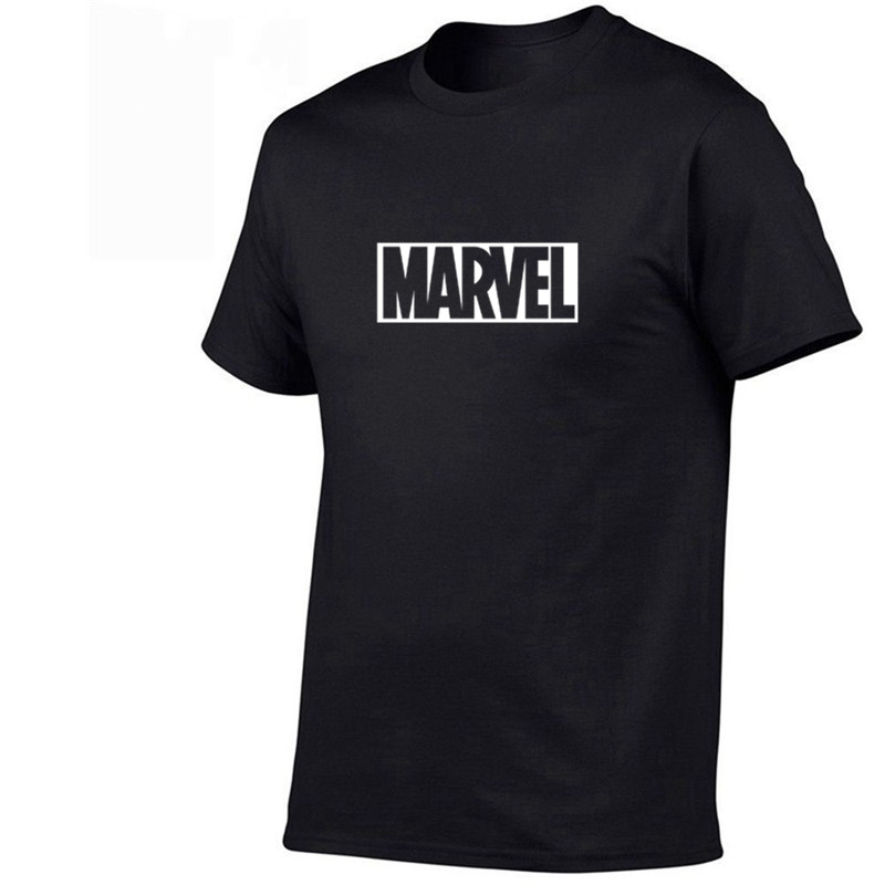 2019 Summer New Fashion T Shirt Mens Cotton T-shirts Tee Short Sleeve High Quality Boys Tshirt TOPS Navy Print MARVEL