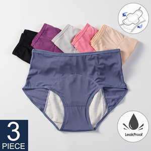 3 шт., герметичные менструальные трусики, физиологические штаны, женское нижнее белье, хлопковые непромокаемые трусы, Ropa Interior Femenina