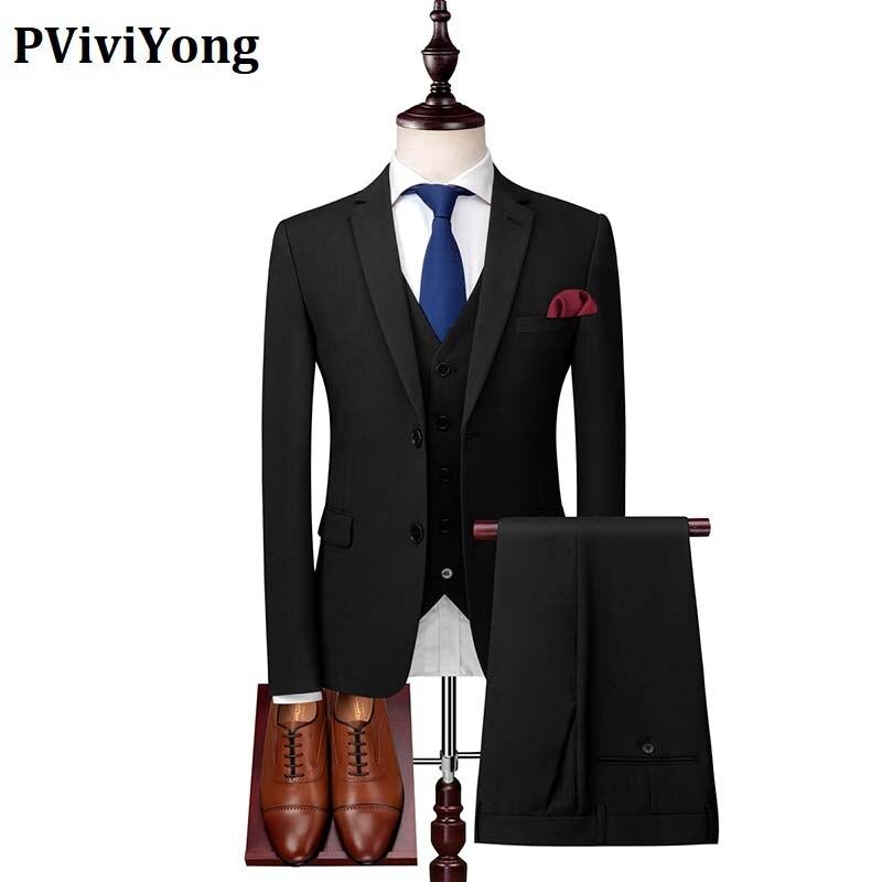 PViviYong Brand 2020 High Quality Men's Wedding Dress Formal Suit Three-piece (Jackets + Vest + Pants) C404-XZ152
