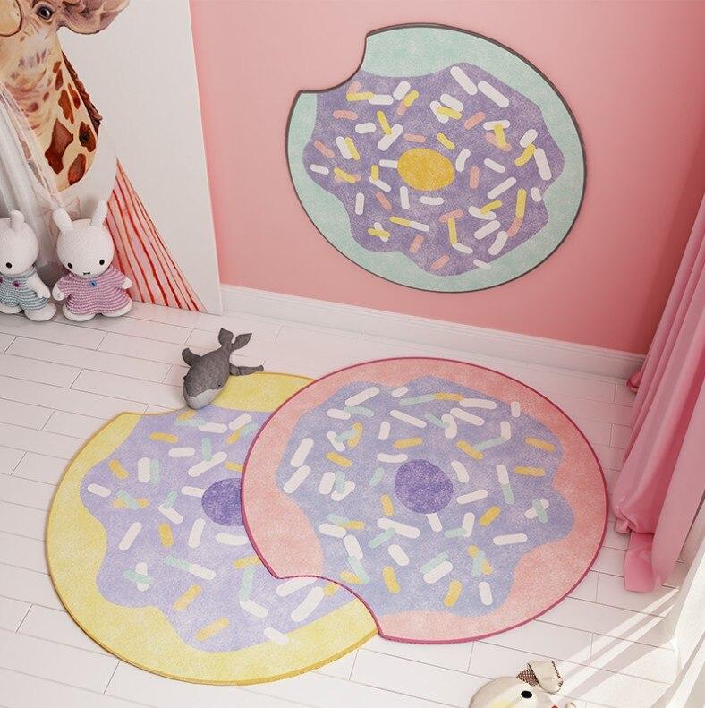 Style nordique tapis rond beignet tapis fille chambre décor aire de jeux tapis chevet paillasson tapis de sol tapis de bande dessinée tapis salon