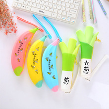 Creative banana pencil case for girls Kawaii Silicone green onions pen pouch Storage bags cute stationery office school supplies
