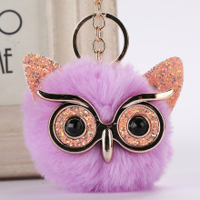 Sequin Animal Owl Hair Ball Keychain PU Glossy Pendant Acrylic Bag Jewelry