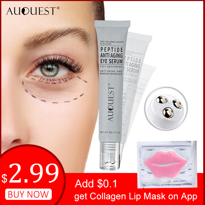 AuQuest Peptide Ageless Eye Cream Hyaluronic Acid Gel Serum For Sagging Skin Firming Wrinkle Removal Brighten Puffy Eyes Care