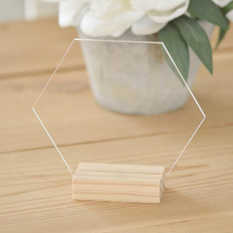 Blank Hexagon Acrylic Sign Table Number Signs for Wedding Party Decoration Freestanding Wedding Place Cards Transparent