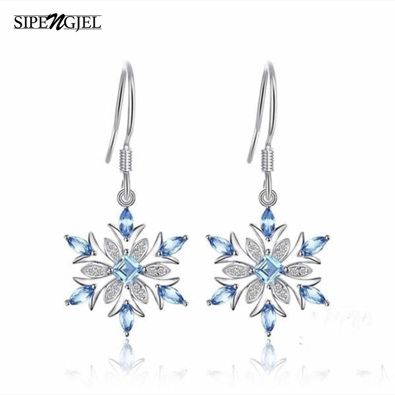Trendy cubic Zirconia silver color Snowflake Christmas Earrings luxury Fashion Blue Cz Crystal Earrings For Women Jewelry 2019