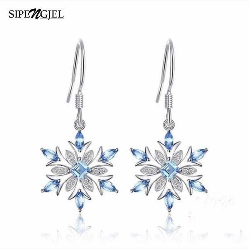 Trendy zirkonia silber farbe Schneeflocke Weihnachten Ohrringe luxus Mode Blau Cz Kristall Ohrringe Für Frauen Schmuck 2019