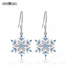 Pendientes de circonia cúbica para mujer, aretes de Navidad, color plata, copo de nieve, cristal azul Cz, moda de lujo, joyería 2020