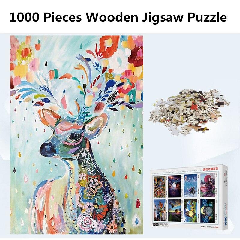 1000 pièces en bois Puzzle adulte Puzzle jouet enfant jouets éducatifs couleur Elk Puzzle
