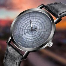 Tree Annual Ring Pattern Men Watch Classy Unique Creative Space Casual Quartz Leather Strap Analog Wirst Watches Montre Femme