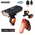 Waterproof USB Rechargeable Bike Headlight 2*T6 LED Bicycle Light 4 Modes Built-in Battery Cycling Torch with Rear Lamp