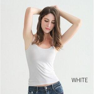Image 3 - נשים סקסי גופיות נקבה Slim ללא שרוולים מקרית Vest חולצה מוצק צבע יבול למעלה לנשים כושר Vest שחור לבן טנק