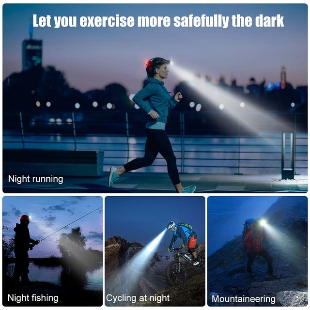 Led Rechargeable Headlamp 3 Modes Zoomable Waterproof powered by 2*18650 battery