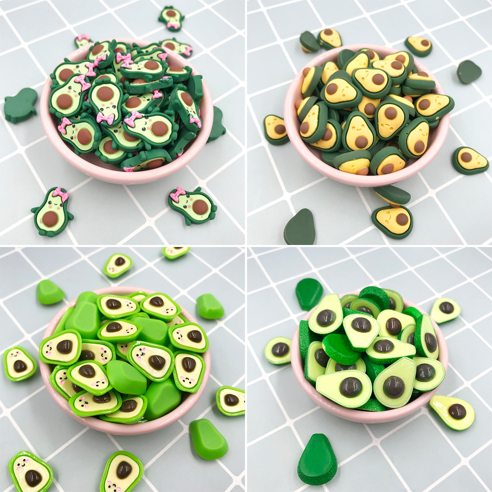 20pcs/lot Flat Back Resin Cabochon Kawaii Fruit Avocado Figure DIY Hair Bows Center Accessories Scrapbooking Decoration Craft