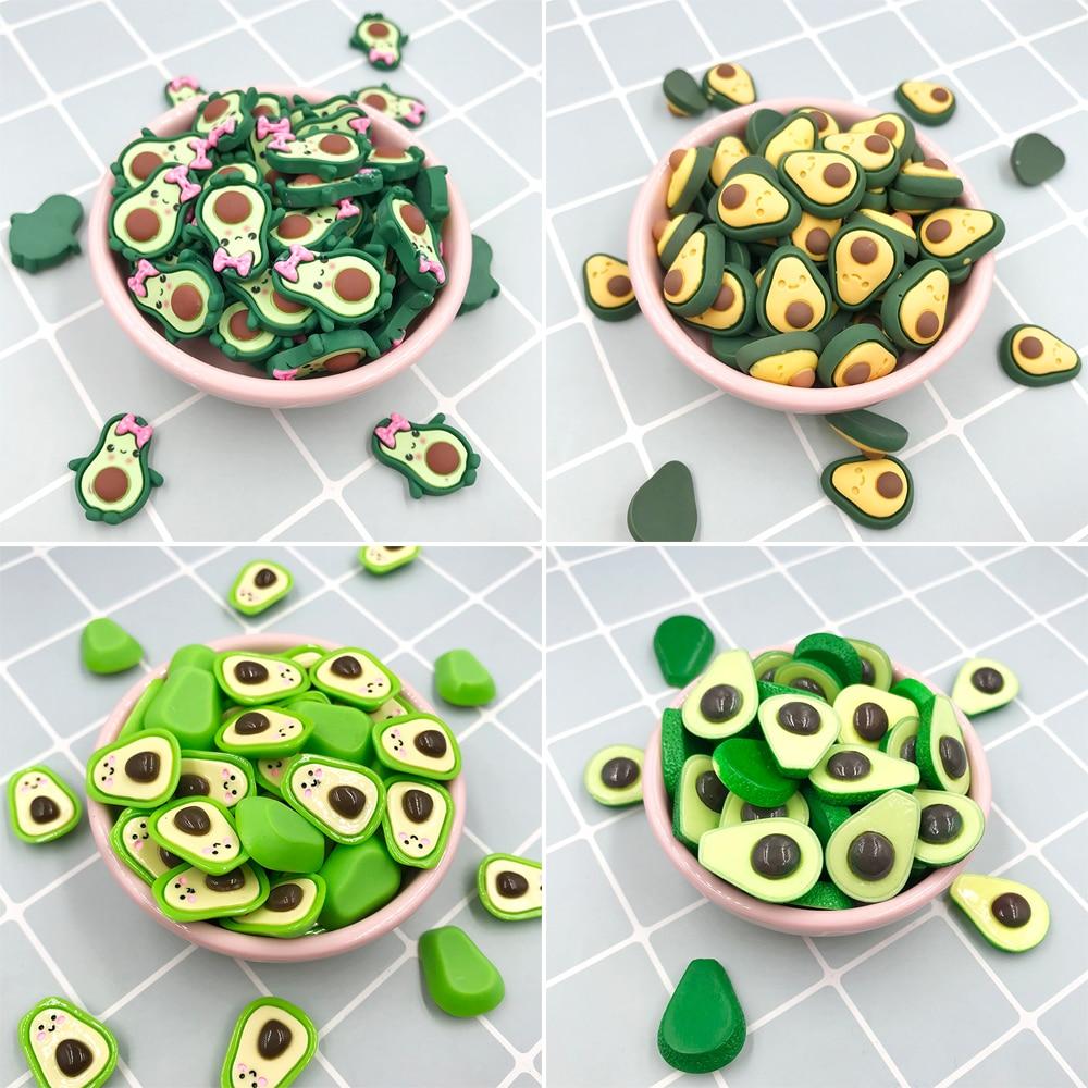 20pcs/lot Flat Back Resin Cabochon Kawaii Fruit Avocado Figure DIY Hair Bows Center Accessories Scrapbooking Decoration Craft