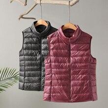 2021 New Autumn Women Ultra Light Down Vest White Duck Down Coat Parka Ladies Sleeveless Waistcoat Plus Size 3XL