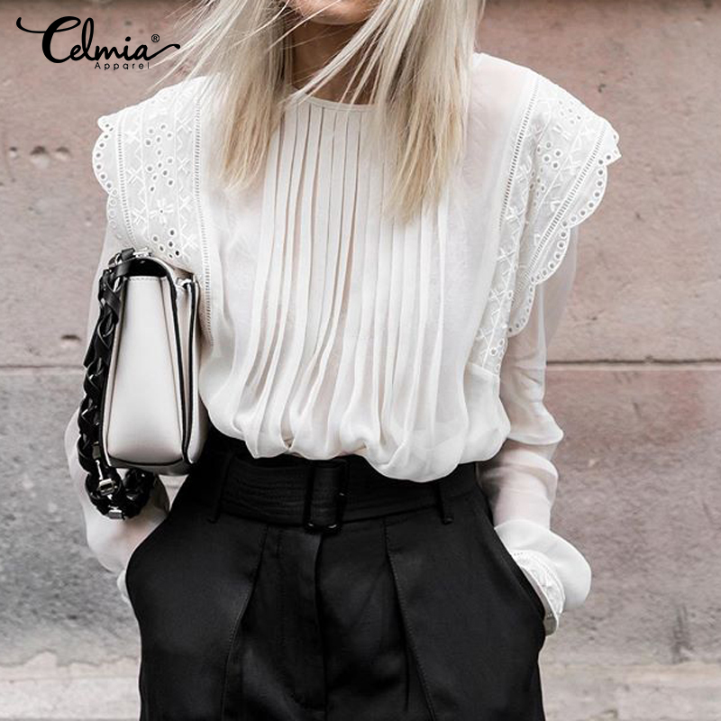 5XL Celmia Women Ruffles Transparent Blouses Embroidered Lace Shirt 2020 Autumn Elegant Long Sleeve Pleated Casual Chiffon Top 7