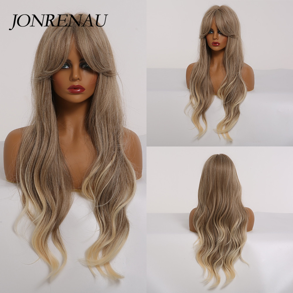 JONRENAU Long Ombre Light Ash Brown Blonde Wavy Wig Cosplay Party Daily Synthetic Wig For Women High Density Temperature Fibre