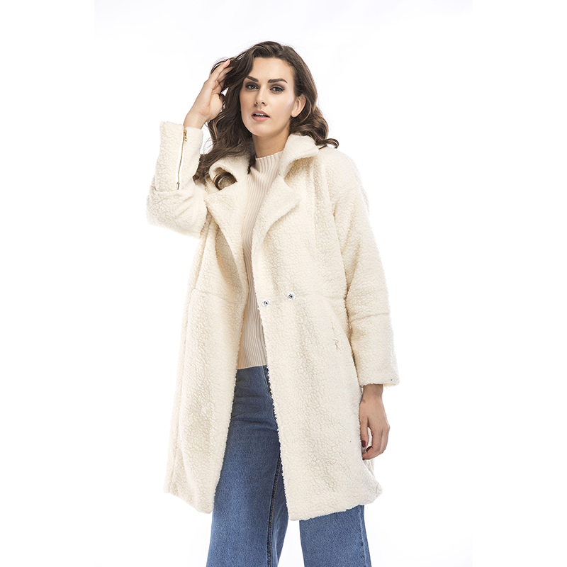 2019 autumn and winter new women's cotton jacket cashmere long-sleeved solid color long coat wool coat 10