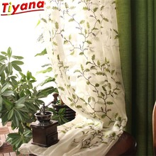 Idyllic Leaf Embroidered Tulle Curtains for Living Room Rural Semi Blackout Green Linen Curtain Fabric for Bedroom  WH126#30