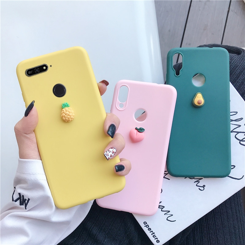 silicone 3D cute fruit case for huawei y9 y7 y6 y5 prime pro 2019 2018 candy color soft tpu back cover fundas capa coque