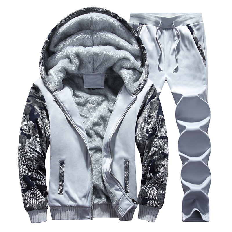 2019 Winter Leisure Suit Youth Sports Clothing Hoodie Cardigan Korean-style Brushed And Thick Camouflage Set