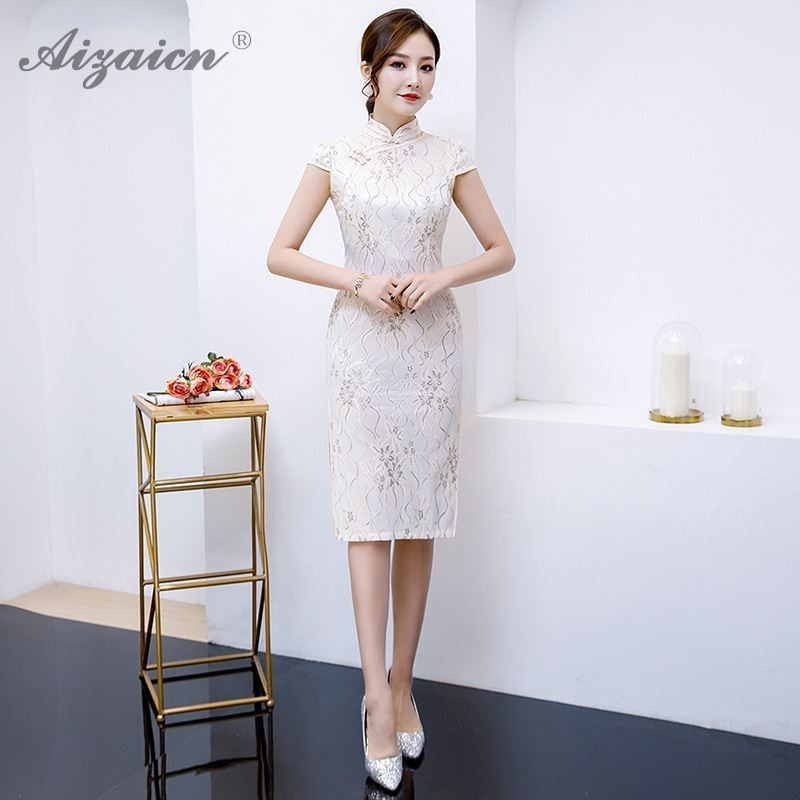 Fashion Monolayer Lace Cheongsam Modern Slim Long Dresses Pink Qi Pao Women Chinese Traditional Clothing Orientale Daily Dress