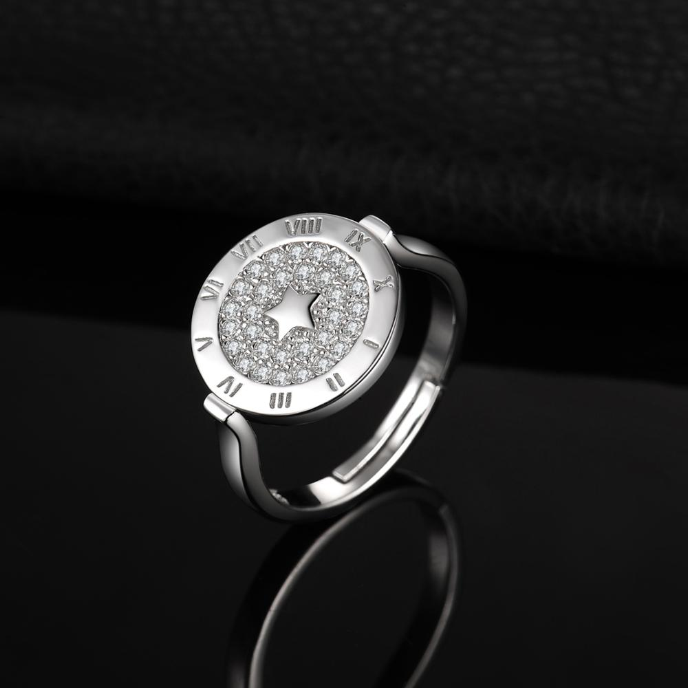 Image 3 - JewelryPalace Round Cubic Zirconia Star Circular Etched Roman  Numeral Adjustable Open Promise Ring 925 Sterling Silver RingsRings