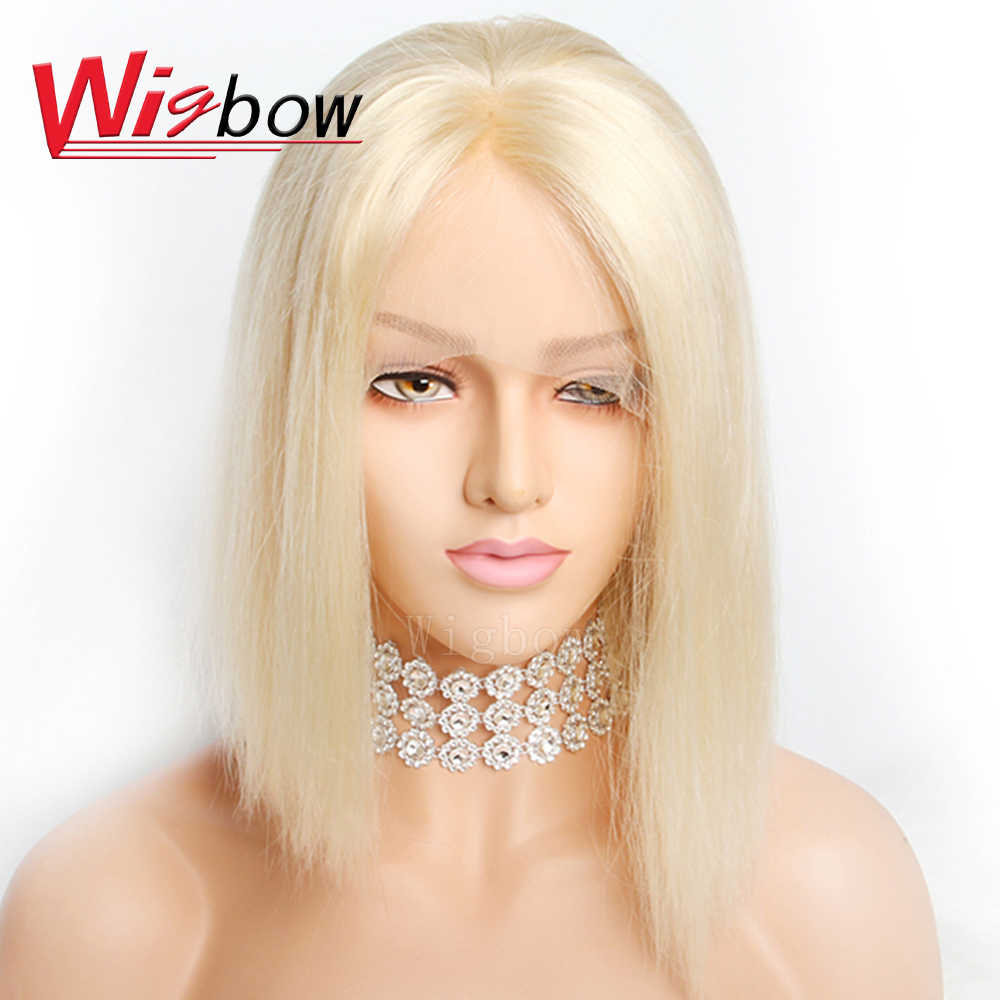Bob Lace Front Wigs Indian Hair Straight Remy Human Hair  613# Blue Green Red Purple Yellow Colored Wigs For Black Women African