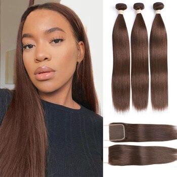 Tissage en lot indien naturel Remy lisse avec Lace Closure 4x4, Extensions de cheveux, lot de 3