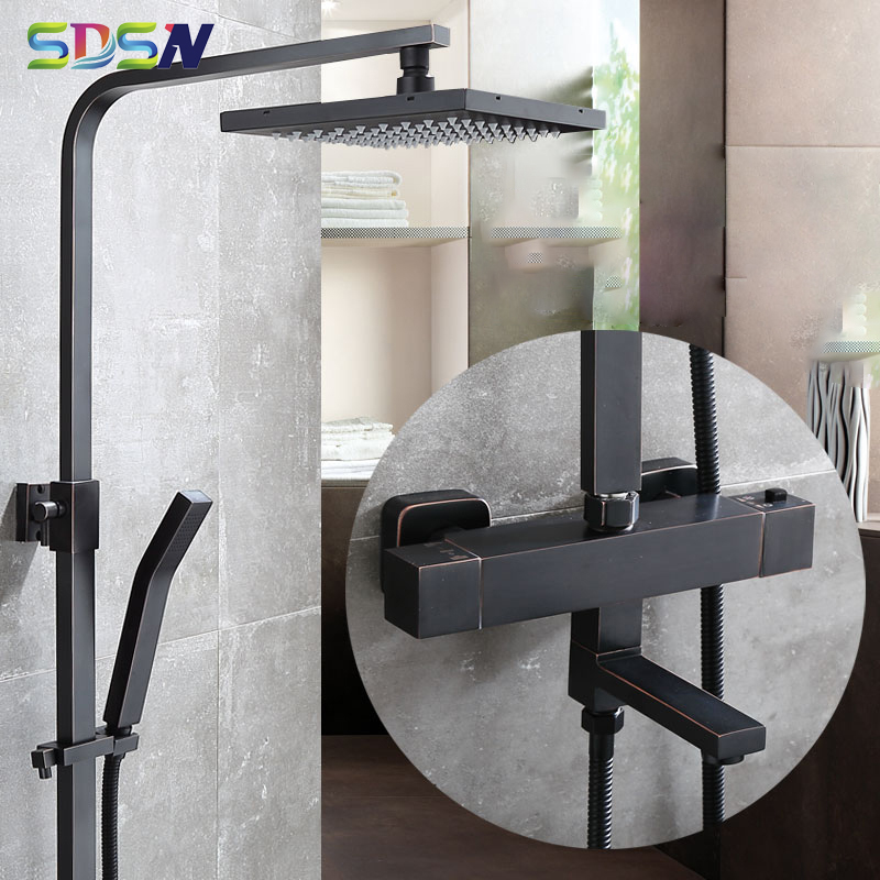 SDSN Black Bronze Bathroom Faucets 8 Inch Rainfall Shower Head Thermostatic Shower System 38 Temperature Bathroom Shower Set