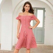Elegant Button Down Dress Women Knee Length Off The Shoulder Causal Midi Dress Polka Dot A Line Summer Dress mesh insert polka dot knee length bodycon dress