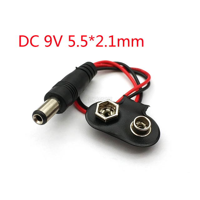 10CM DC 9V 5.5*2.1mm Battery Button Power Plug For Uno 1
