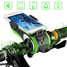 Multifunction 5 In 1 Bicycle Computer Phone Holder 4400mAh Bluetooth Audio MP3 Player Speaker Waterproof Bank Bell Bike Light цены