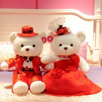 Presses poupée une paire de mariage créatif pratique poupée de mariage en peluche ours en peluche Couples meilleur ami cadeau pour mariage