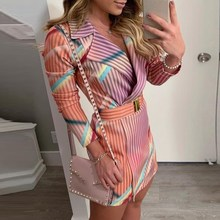 Autumn Winter Classy Colorful Striped Print Elegant Blazer Dress Women OL Workwear Chic Streetwear Formal Party