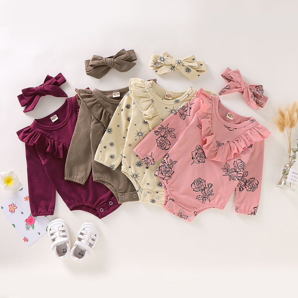 1PC Cute Baby Jumpsuit Girls Outfit Onesies Tassel Flower Bodysuit Print Overalls Jumpsuit Long Pants Outf 12M-5T