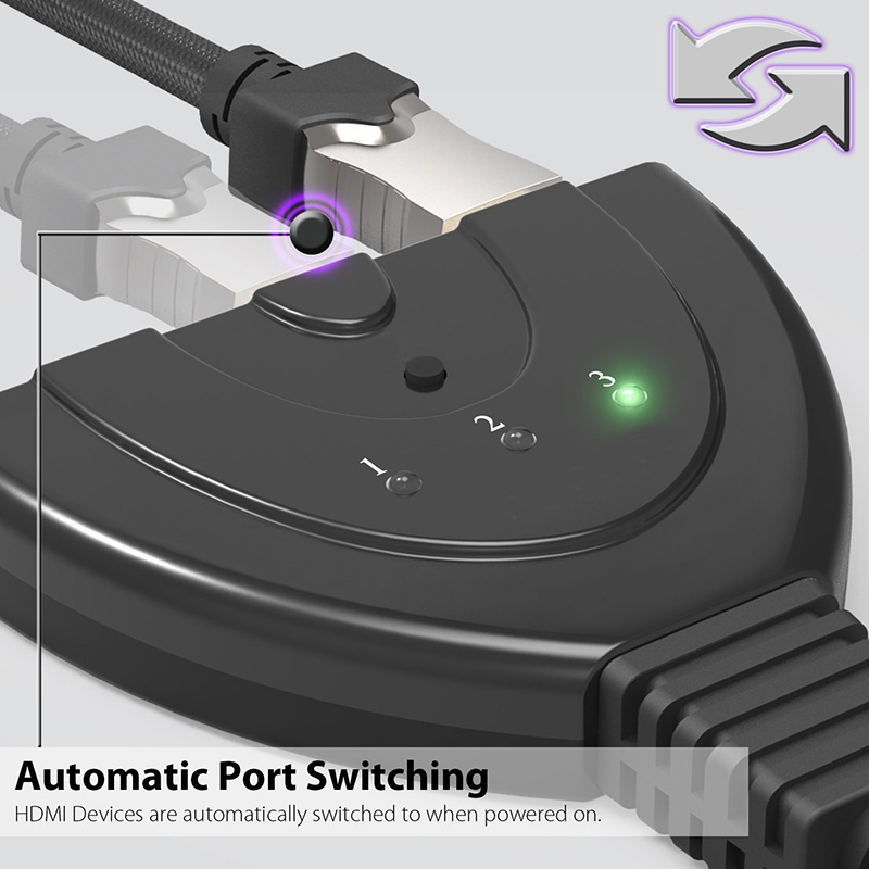 3-Port HDMI Switch Splitter With Pigtail Audio Cable Support For HD DVD TV Box PS3 Game Consoles Xbox GV99
