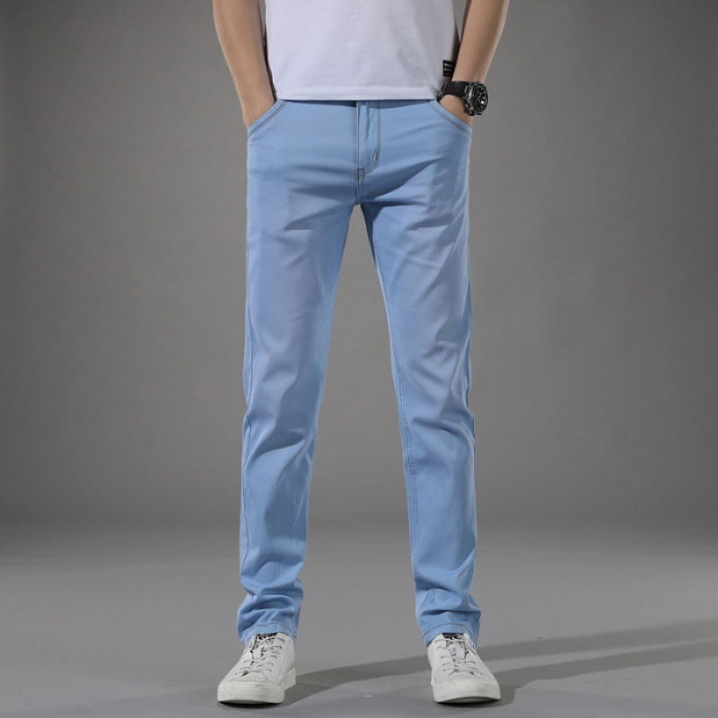 Summer MEN'S Jeans Thin Straight Slim Trousers Medium Waist Versatile MEN'S Pants Youth Casual Trousers Summer