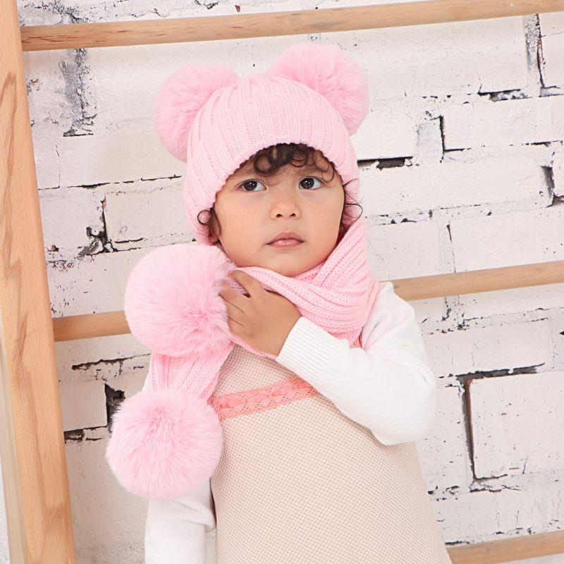 Infant Baby Winter Warm Double Plush Pompom Crochet Skull Cap Hat Long Scarf Set A69C