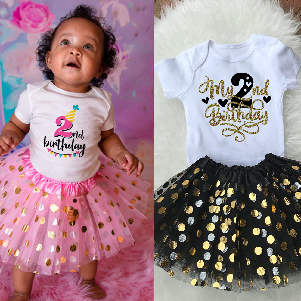 Baby Girls 1st & 2nd Birthday Outfit Cake Smash Outfit Birthday Shirt Tutu + Baby Bodysuits Set Birthday Clothes Drop Ship