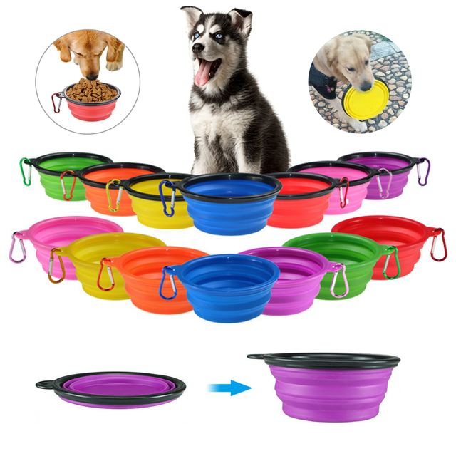 Dog Travel Silicone Bowl Portable Foldable Pet Cat Dog Food Water Feeding 1