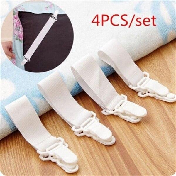 4 adet/takım beyaz yatak çarşafı yatak örtüsü battaniyeler tutucular klip yatak bağlantı elemanları seti tutucu bağlantı elemanları elastik levha toka